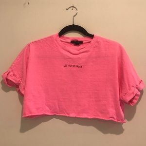 "Pink ""Out of Order"" crop top"